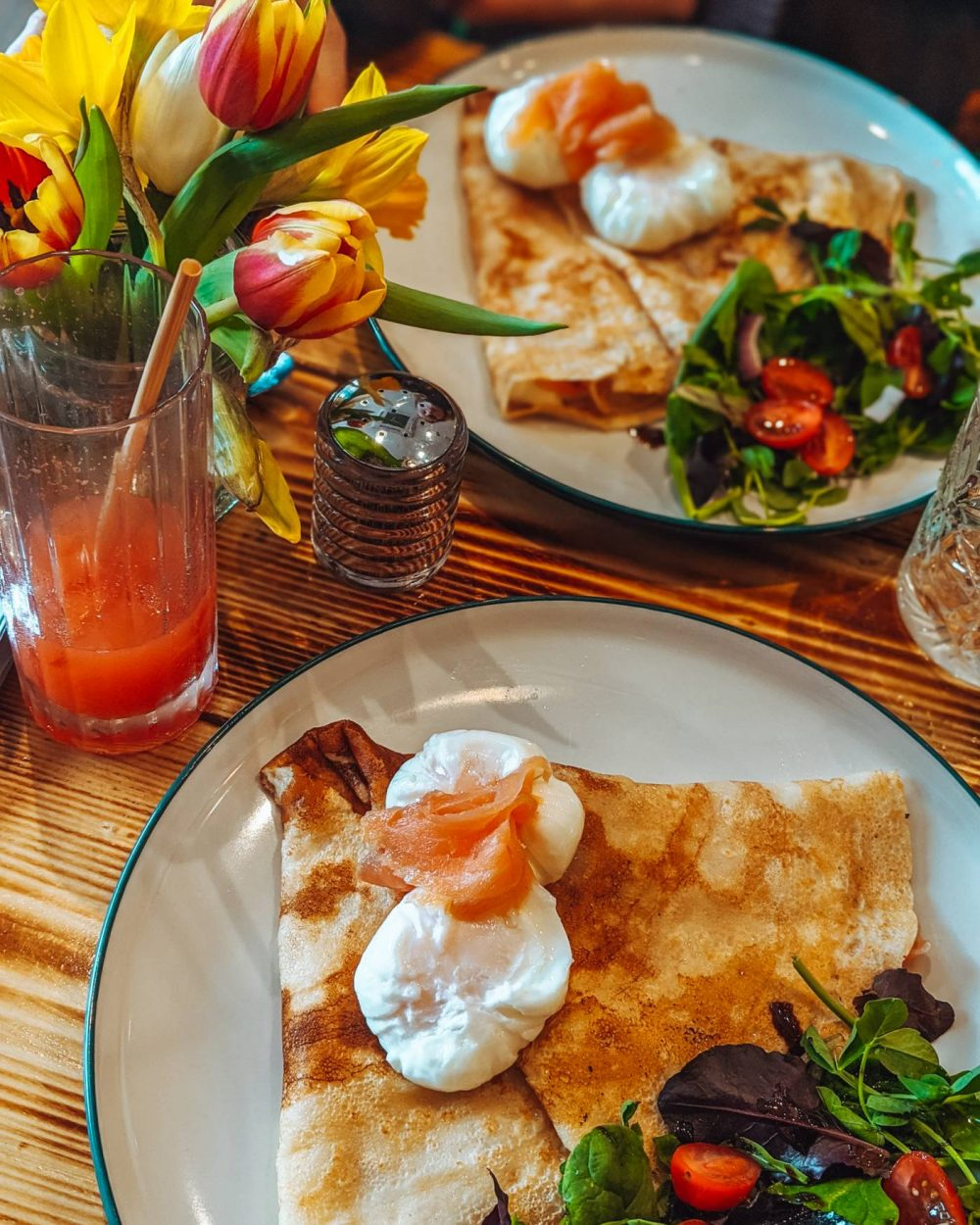Egg and smoked salmon Crepe at Whisk Kitchen, Woburn Sands - Eat Out to Help out in Milton Keynes.