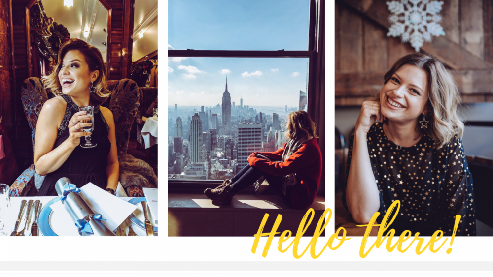 Three photos of Sophie: Drinking champagne on the Orient Express; Sitting in the window at the Top of the Rock overlooking the Empire State building; Laughing