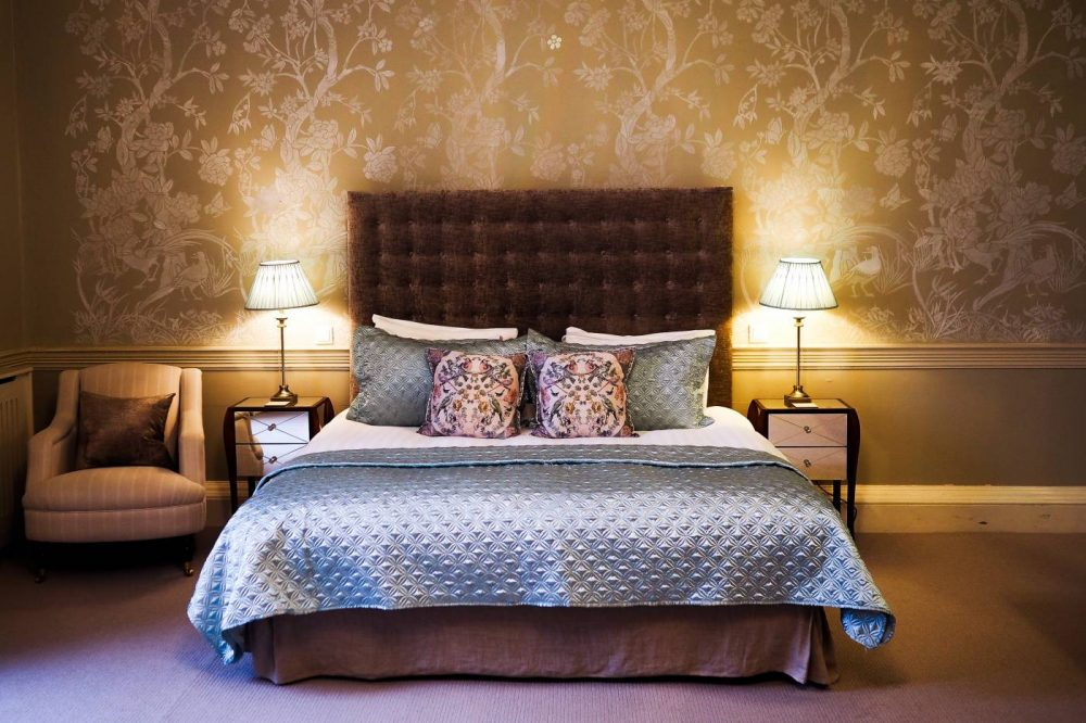 The double bed in the Nightingale Suite at Nanteos Mansion