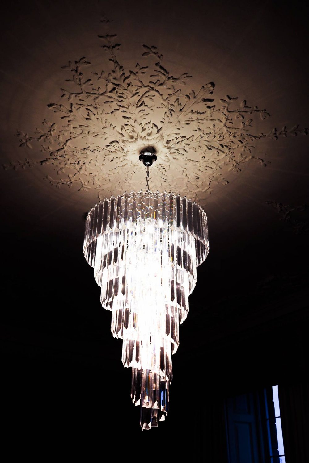 The chandelier in the Nightingale Suite at Nanteos Mansion