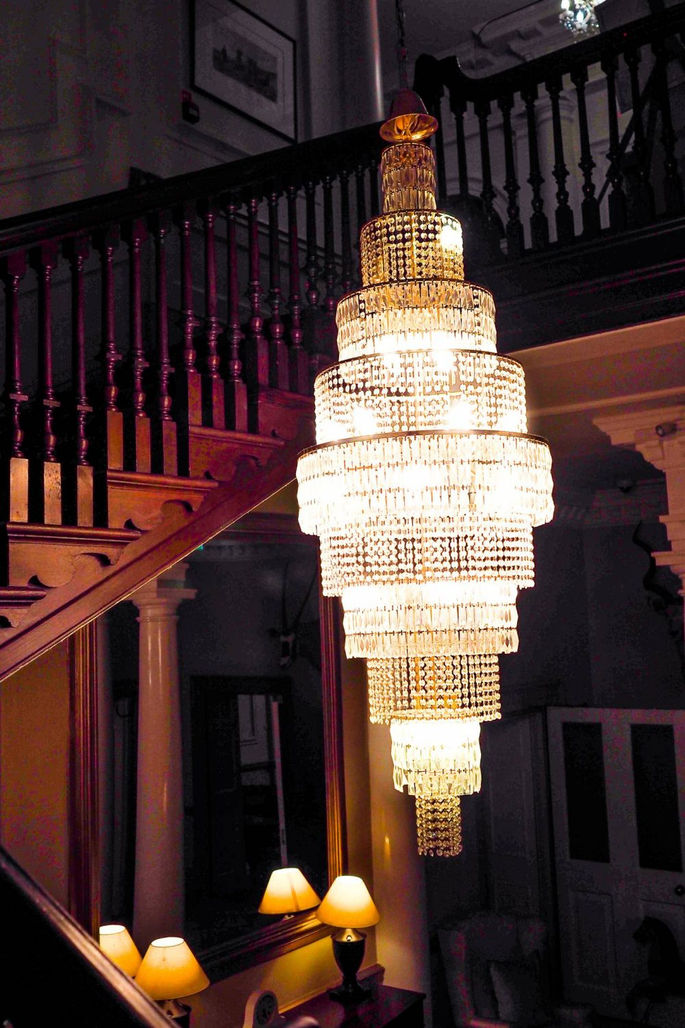 The Chandelier in the entrance hall at Nanteos Mansion
