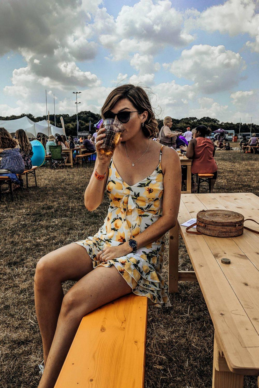 Sophie drinking cider the MK sausage and cider festival
