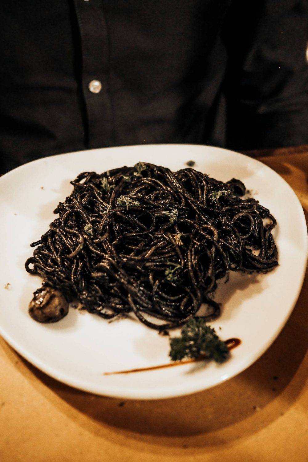 Squid ink pasta at Pan e Vino San Daniele, Venice