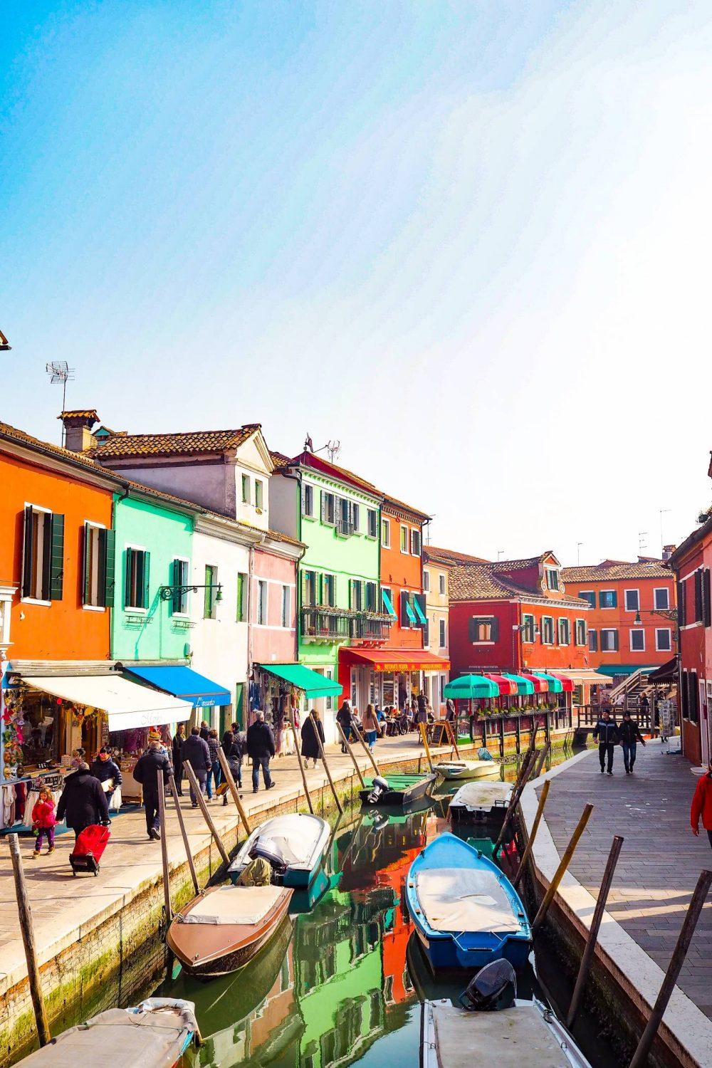 Canals and Rainbow houses in Burano, Venice