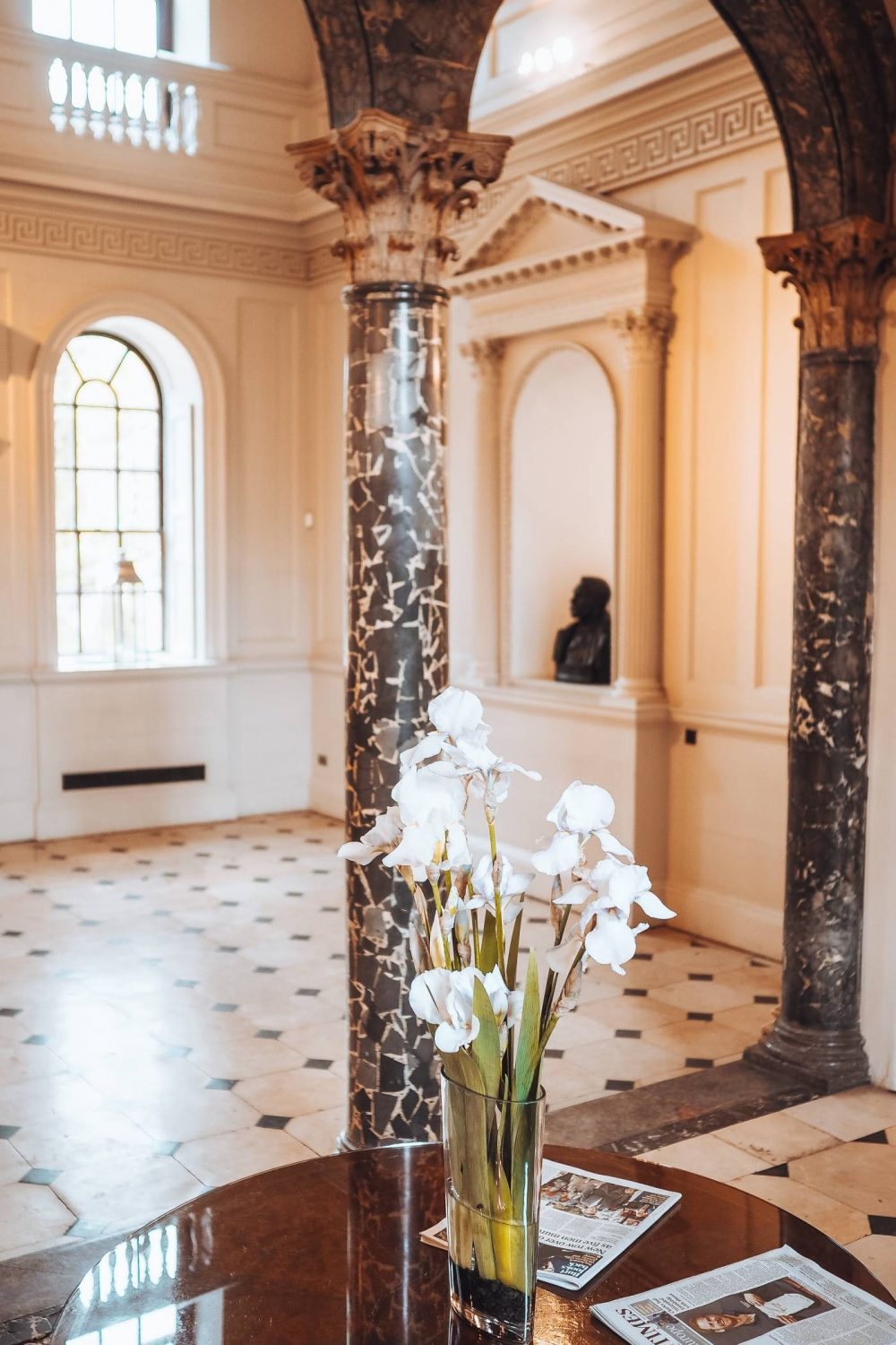 The marble entrance hall at Chicheley Hall