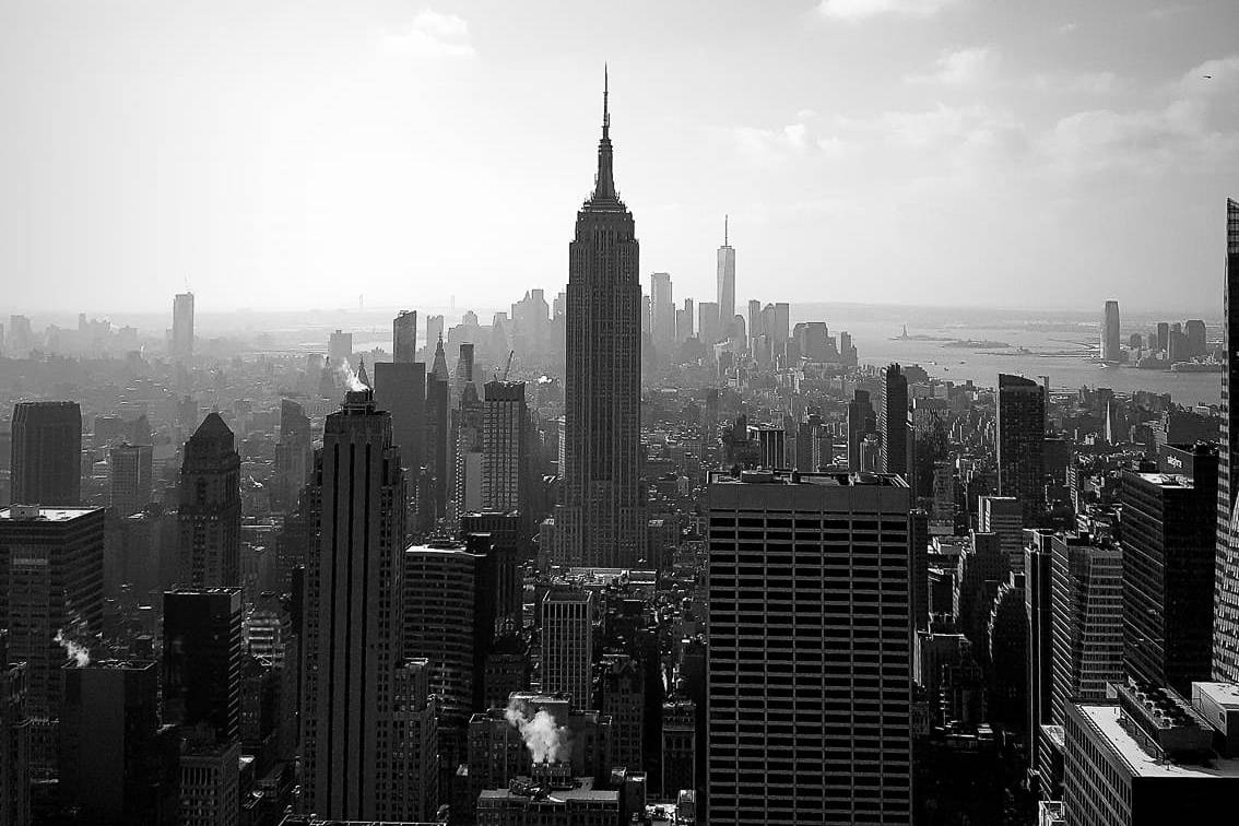 View of the empire state building from top of the rock