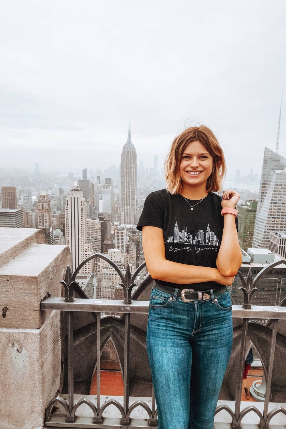 Sophie at the Top of the Rock, New York
