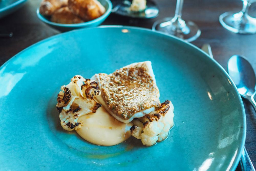 Turbot with Smoked Hollandaise and roast cauliflower at Restaurant Nathan Outlaw