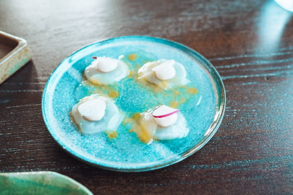 Raw Scallops with chilli and cucumber at Restaurant Nathan Outlaw