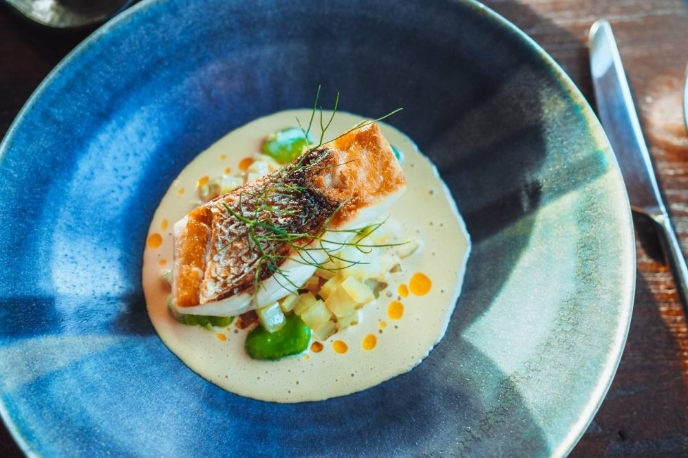 Bass with Spider crab sauce and fennel from Restaurant Nathan Outlaw