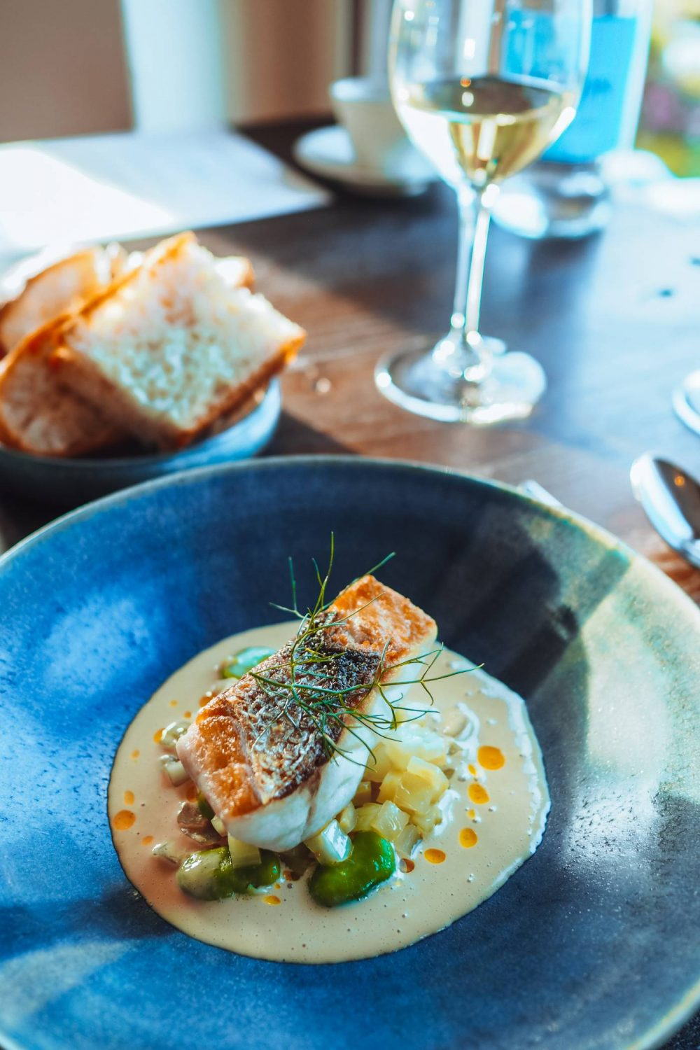 Bass with fennel and spider crab sauce from Restaurant Nathan Outlaw
