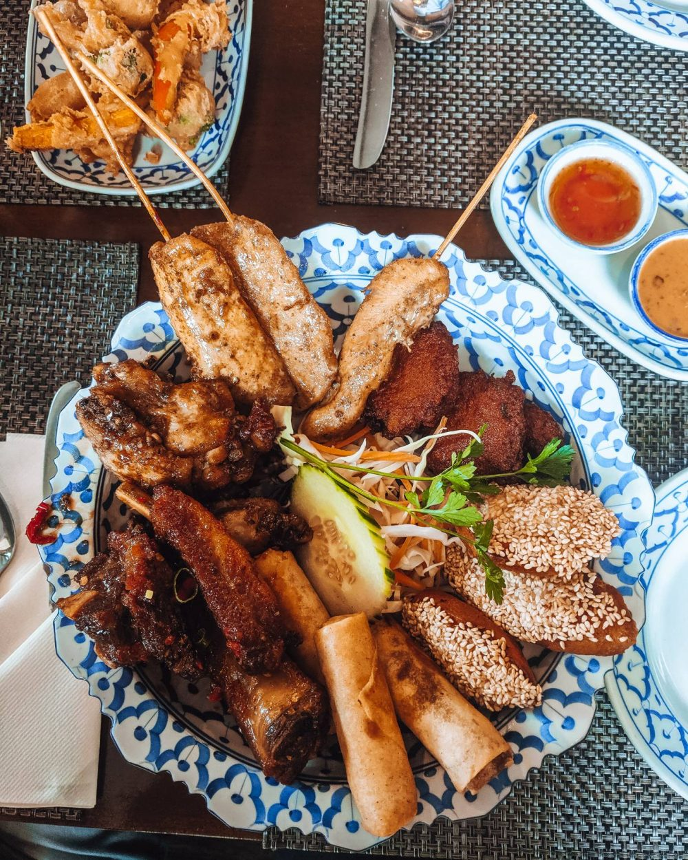 Pin Petch Thai Restaurant's sharing platter - Eat Out to Help out in Milton Keynes.