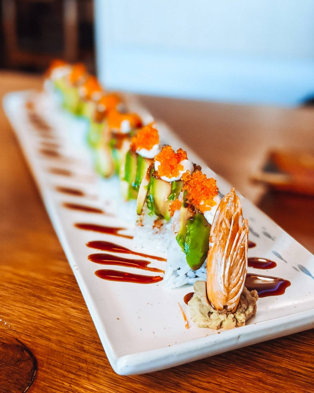 Dragonfly roll at Legend One Sushi Bar - Eat Out to help out Milton Keynes