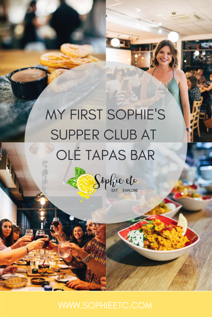 Pinterest graphic for  Sophie's Supper Club at Olé Tapas Bar