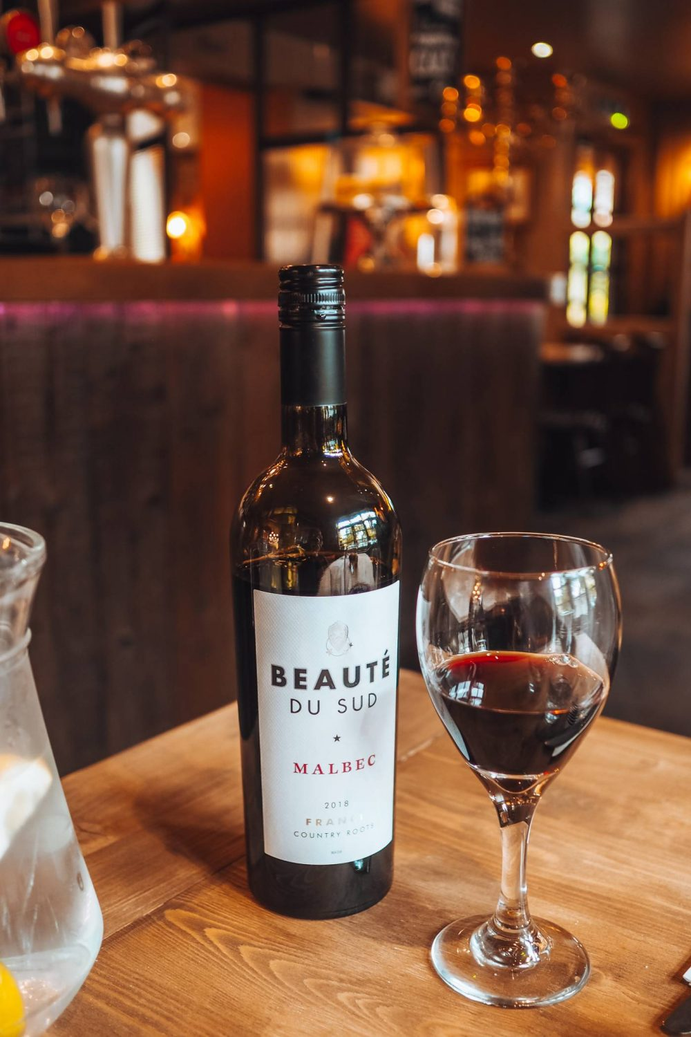 A bottle of red wine - Beauté Du Sud,  a Malbec from France