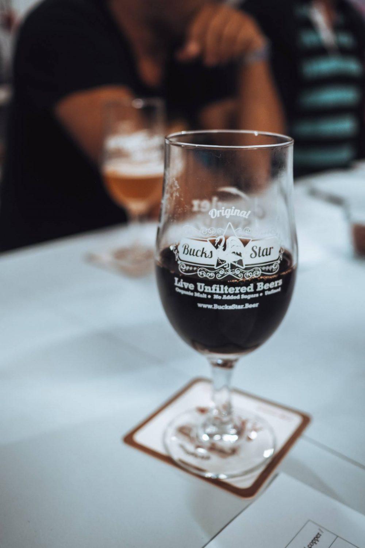 Half a pint of Bucks Star Beer Magiovinium Porter
