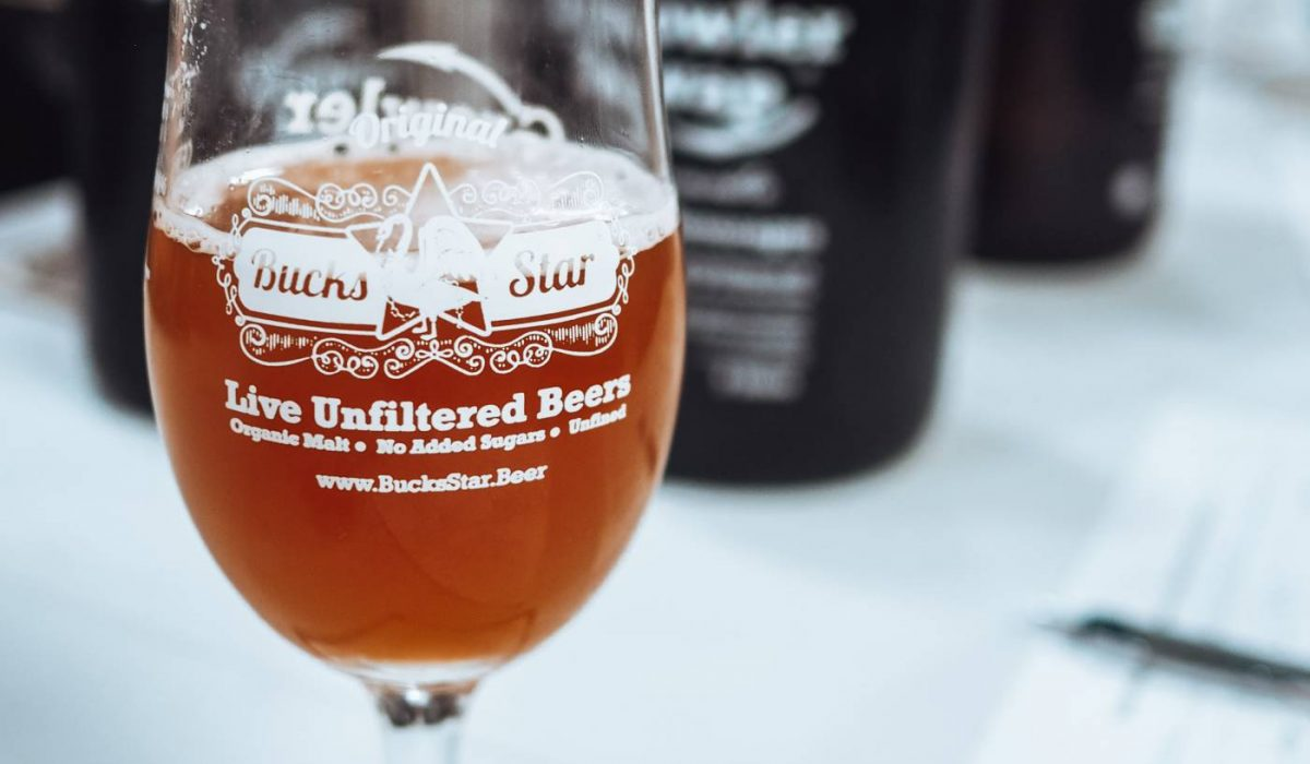 Half a pint of Bucks Star Beer Attenborough Amber ale