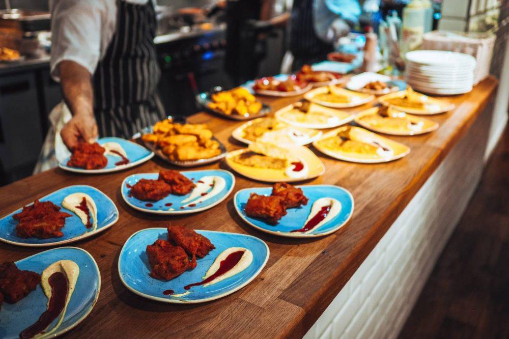 Plates of Tandoori Cod at Ole Tapas bar