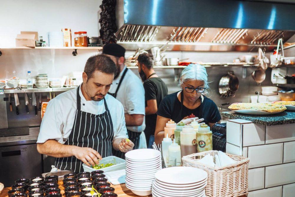 Juan and Saf behind the counter at Ole Tapas Bar