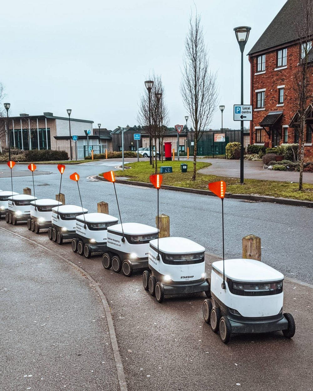 Starship Robots in Milton Keynes lined up
