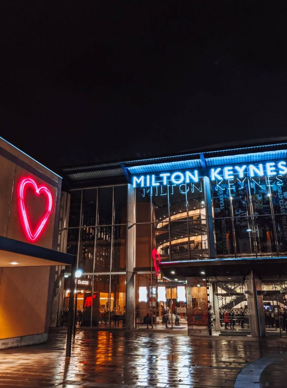 Milton Keynes Theatre and MK Gallery at night in the rain
