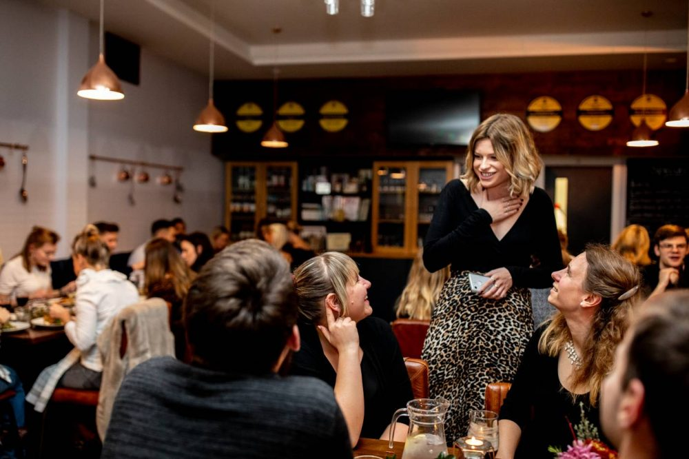 Sophie speaking to guests at The Brasserie