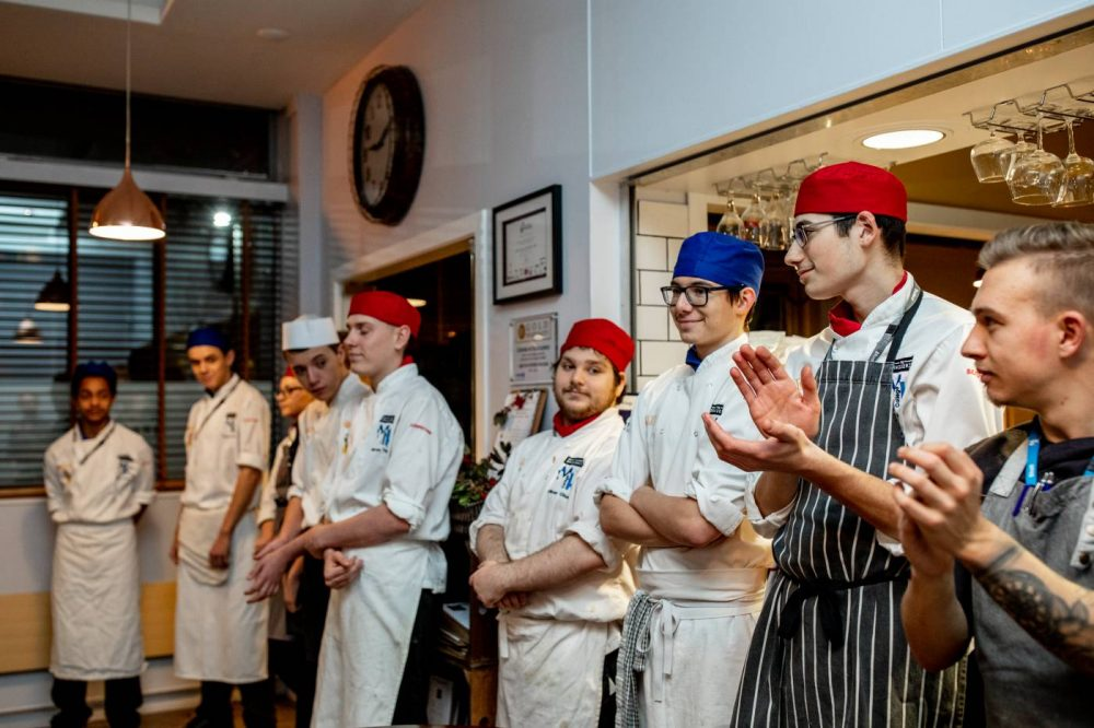 A photo of the level 1 & 2 chefs at The Brasserie at MK College.