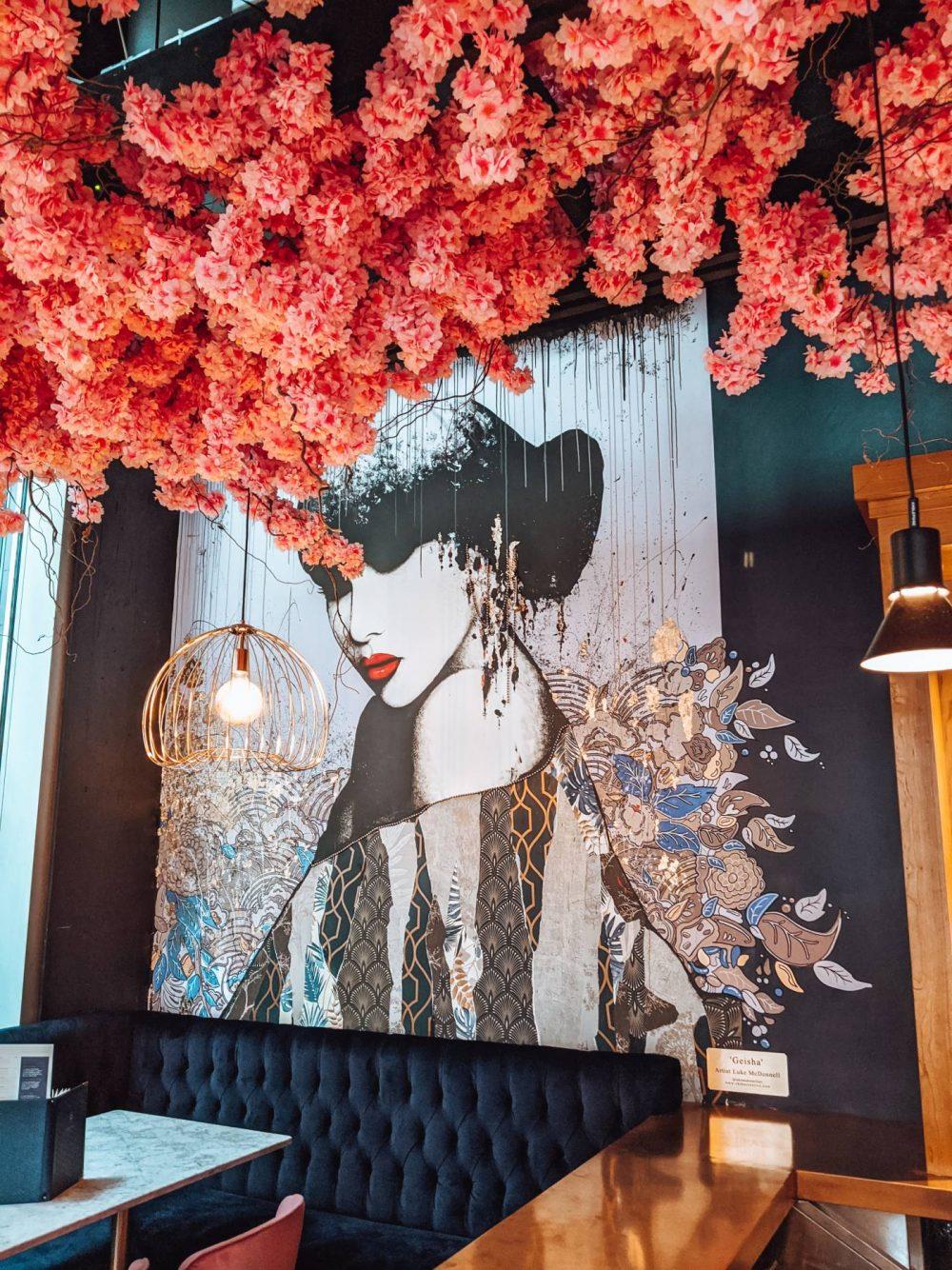 Geisha Painting by Luke McDonnell at the Blossom Room Milton Keynes
