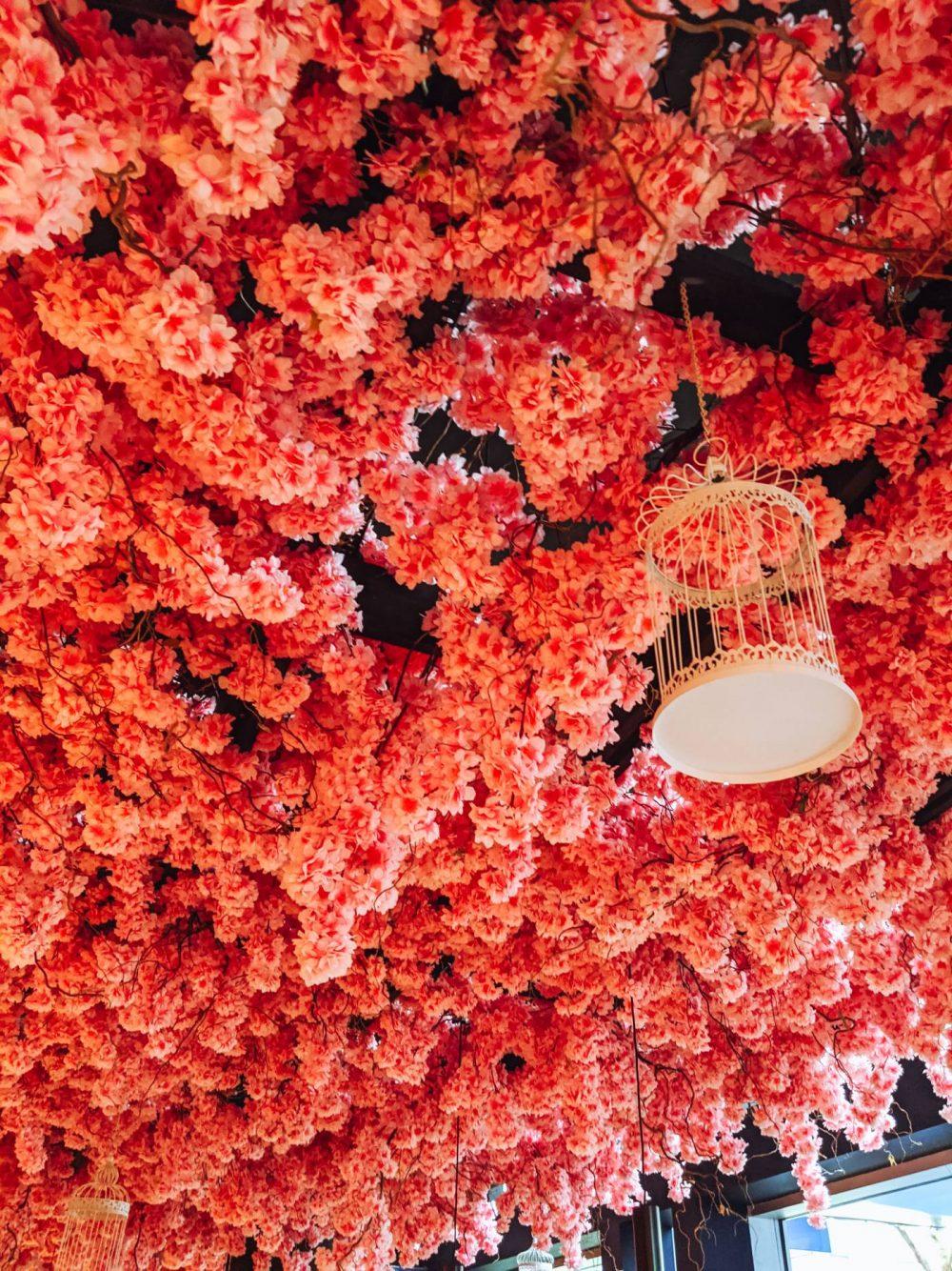 Cherry blossom ceiling at The Blossom Room Milton Keynes